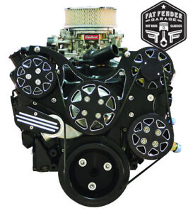 Small Block Chevy Serpentine Kit Black Billet Aluminum A C And Power Steering
