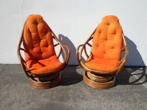 Pair Of Chairs Rattan Swivel Rocker Rocking Chair Vintage Bohemian Boho Chic