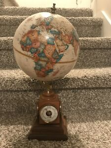 Vintage Globe Rotating Swivel Map Of Earth Atlas Geography World