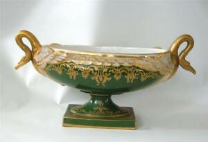 Antique Sevres Porcelain Center Bowl Swan Handles Green Gold Enamel 1800 S
