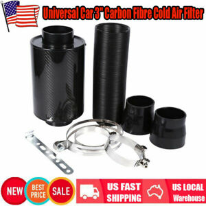 Universal Car Carbon Fibre Cold Air Filter Feed Enclosed Intake Induction Pipes