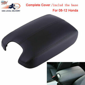 For 08 12 Honda Accord Leather Armrest Cover base Console Lid Complete Black Kit