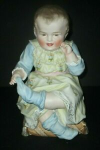 Antique Large Hertwig Piano Baby Bisque Porcelain Boy Pulling Sock Figure German