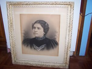 Antique Large Victorian Framed Lady Photo