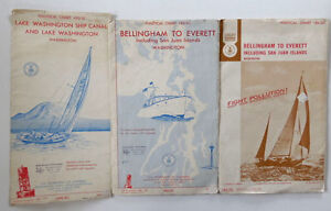 Vtg Nautical Maps Charts Bellingham Everett And Lake Washington Ship Canal Wa