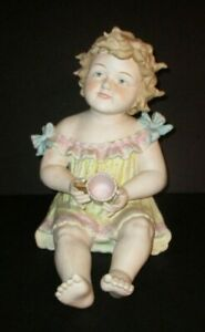 Vintage Conta Boehme Piano Baby Large Bisque Porcelain Girl Holding Cup Figure