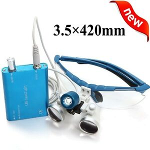 Blue Dental Loupes 3 5x 420mm Surgical Medical Binocular led Head Light Lamp Us