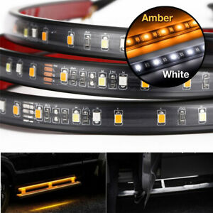 2pcs Side Skirt Led Welcome Light Bar Sequential Flash Amber White 12v Universal