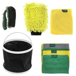 Brookstone Valeting Complete Car Wash Kit Alloy Brush Bucket Microfibre Cloths