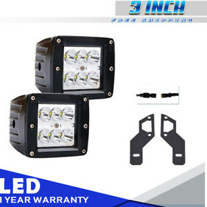 3 Led Work Light Square Cube 18w Pods Offroad Fog For 14 16 Polaris Rzr Xp1000