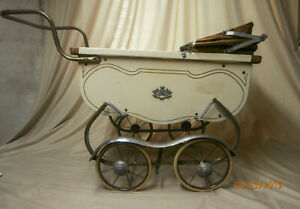 Vintage Coronet Baby Doll Carriage Stroller White With Copper Accents