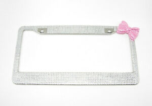 1pc Stainless Bling Diamond Crystal License Plate Frame With Corner Pink Bow Tie