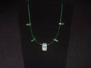 Pre Columbian Blue Jade Axe Pendant Necklace With Emerald Sapphire And Gold