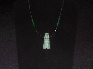 Pre Columbian Blue Jade Shaman Axe God Necklace With Sapphires Emeralds Gold