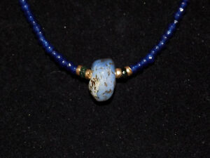 Pre Columbian Chalcedony Pendant Bead With Sapphires Emerald And Gold Necklace