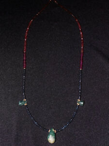 Pre Columbian Blue Jade Axe Pendant Necklace With Sapphires And Gold Costa Rica