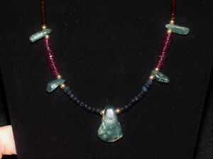 Pre Columbian Blue Jade Axe Pendant With Sapphire Garnet And Gold Necklace