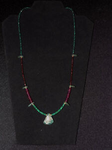 Pre Columbian Blue Jade Axe Pendant With Emerald Garnet And Gold Necklace