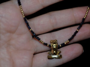 Pre Columbian Style Gold Frog Pendant Necklace With Sapphire And Gold Beads
