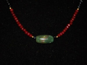 Pre Columbian Blue Jade Tubular Bead With Sapphire Ruby And Gold Bead Necklace
