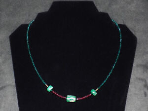 Pre Columbian Emerald Necklace With Faceted Rubies And Gold Beads
