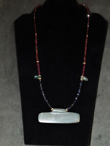 Pre Columbian Green Stone Pendant With Sapphire Garnet And Gold Necklace