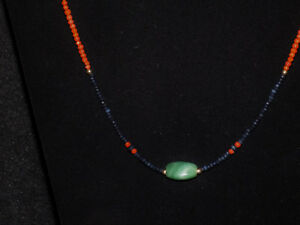 Pre Columbian Jade Triangular Bead With Sapphire Coral And Gold Necklace
