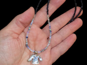 Pre Columbian Style Silver Bird Pendant Necklace With Opals And Sapphires