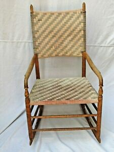 Antique Shaker Style Rocking Chair Webbing Seat And Back