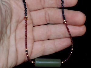 Pre Columbian Jade Tubular Bead Pendant Necklace With Sapphires And Gold