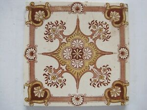 Antique Victorian Brown Gold Aesthetic Transfer Print Wall Tile Pilkingtons