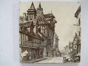 Antique Victorian Mintons Views Tile Old Houses Rouen C1885 Series No 2024