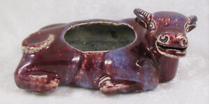 Antique Chinese Porcelain Flambe Glaze Cow Steer Brush Washer 9x6x3 1 2in C1910