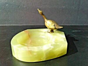 Antique Vintage Germany Bronze Duck Swan Goose Green Onyx Coin Key Dish Pin Tray