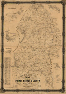 Map Of Prince George S County Maryland C1861 Repro 24x34