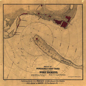 Sketch Of Pensacola Navy Yard And Fort Pickens Fl C1860s Repro 12x12