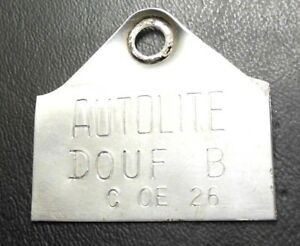 1970 Ford Bronco D0uf b Autolite Carb Tag F2 2100 Dogtag Metal Label