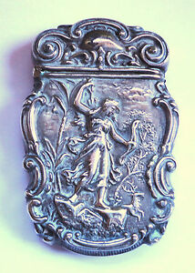 Rare Antique Sterling Art Nouveau Match Safe Vesta Full Figure Woman Not Repro