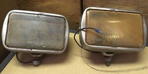 Pair Per Lux 600 R Clear Lens Fog Lights Vintage With Mounting Bolt