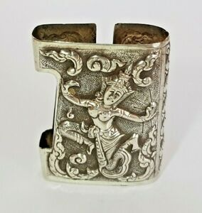 Rare Vintage Solid Siam Sterling Silver Deities Cigarette Lighter Cover Sleeve