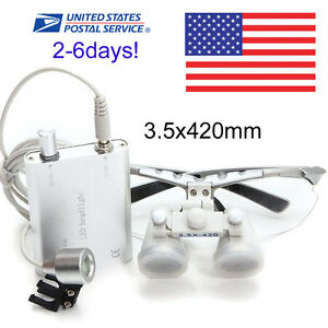 Usa Fast Ship Silver Dental Surgical Loupes 3 5x 420mm With Led Head Light Lamp