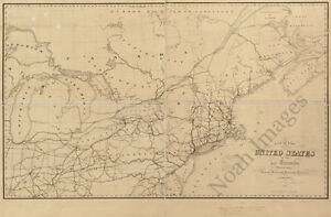 Map Of Us And Canada C1852 36x24