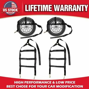 New Adjustable Vehicle Tow Dolly Basket Tie Down Straps With Flat Hooks 2 Pack