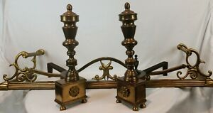 Vintage Fireplace Curb Fender Set Andirons Colonial Revival C1940s