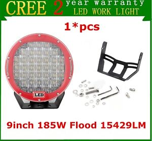 1x 9inch 185w Led Round Driving Work Light Spot Off road Toyota Honda Red Lamp