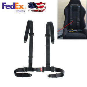 4 Point Buckle Racing Seat Belt Harness Black Nylon Adjustable Strap Car Auto