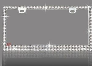 4 Row Bling Grey Real Crystal Embedded Chrome License Plate Frame A