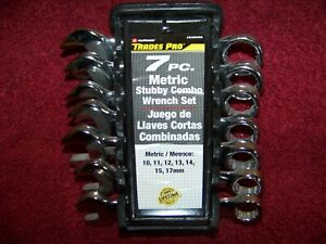 New Alltrade Trades Pro 7pc Metric Stubby Combo Wrench Set 10 11 12 13 14 15 17