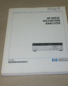 Agilent hp 8903e Distortion Analyzer Instruction Operation Calibration Manual