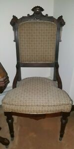 Vintage Pair 2 Antique Carved Victorian East Lake Walnut Side Chairs
